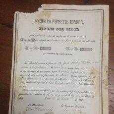 Coleccionismo Acciones Españolas: ANTIGUA ACCION MINAS SOCIEDAD MINERA MINA AZUFRE VIRGEN DEL PILAR LORCA MURCIA 1860. Lote 110443055