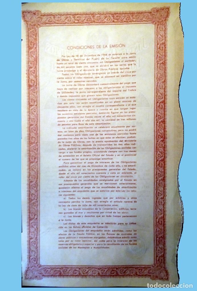 Coleccionismo Acciones Españolas: 1953.- OBLIGACION de 1000 Pts. JUNTA de OBRAS y SERVICIOS del PUERTO de LA CORUÑA. Rev Condiciones. - Foto 2 - 110473251