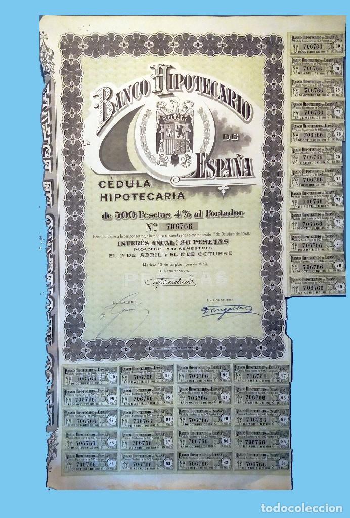 1946.- CEDULA HIPOTECARIA DE 500 PTS. AL 4% DEL BANCO HIPOTECARIO DE ESPAÑA. REV. CONDICIONES. (Coleccionismo - Acciones Españolas)