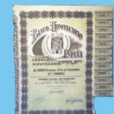 Coleccionismo Acciones Españolas: 1946.- CEDULA HIPOTECARIA DE 500 PTS. AL 4% DEL BANCO HIPOTECARIO DE ESPAÑA. REV. CONDICIONES.. Lote 110473627