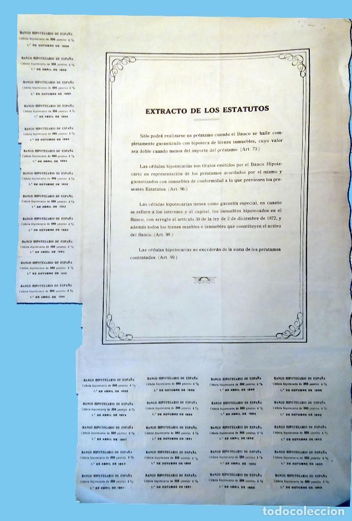 Coleccionismo Acciones Españolas: 1946.- CEDULA HIPOTECARIA DE 500 PTS. al 4% del BANCO HIPOTECARIO DE ESPAÑA. Rev. Condiciones. - Foto 2 - 110473627