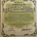 Coleccionismo Acciones Españolas: FÁBRICA DE CERVEZAS MORITZ, 1965. Lote 110494555