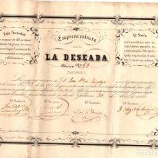 Collezionismo Azioni Spagnole: ACCION EMPRESA MINERA LA DESEADA. GALDAMES. BIZKAIA. AÑO 1854. Lote 110539463