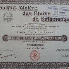 Coleccionismo Acciones Españolas: SOCIEDAD MINERA DE ESTAÑOS DE SALAMANCA (1928). Lote 110716659