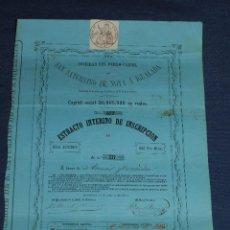 Coleccionismo Acciones Españolas: (M) ACCION SOCIEDAD DEL FERRO-CARRIL SAN SATURNINO DE NOYA A IGUALADA 1864 , ACCION 100 PTS. Lote 110904247