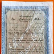 Coleccionismo Acciones Españolas: MANCOMUNIDAD SAN ANTONIO DE PADUA- CARTAGENA 1.899. Lote 111972983