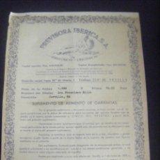 Coleccionismo Acciones Españolas: JML SUPLEMENTO DE SEGURO PREVISORA IBERICA SEGUROS DECESOS SEVILLA 1970. 21X30 CM. VER FOTOS.. Lote 112206791