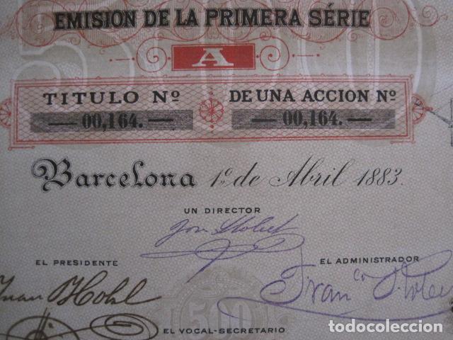 Coleccionismo Acciones Españolas: ACCION CREDITO ESPAÑOL- BARCELONA 1 DE ABRIL 1883 - 500 PESETAS - VER FOTOS -(ACCION 1) - Foto 2 - 112447339