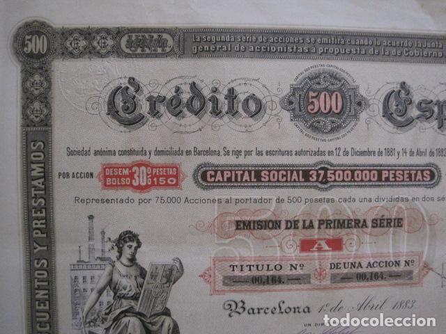 Coleccionismo Acciones Españolas: ACCION CREDITO ESPAÑOL- BARCELONA 1 DE ABRIL 1883 - 500 PESETAS - VER FOTOS -(ACCION 1) - Foto 3 - 112447339