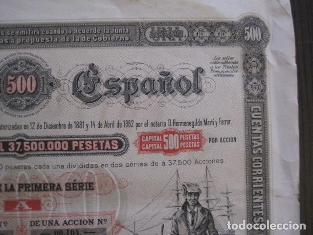Coleccionismo Acciones Españolas: ACCION CREDITO ESPAÑOL- BARCELONA 1 DE ABRIL 1883 - 500 PESETAS - VER FOTOS -(ACCION 1) - Foto 4 - 112447339