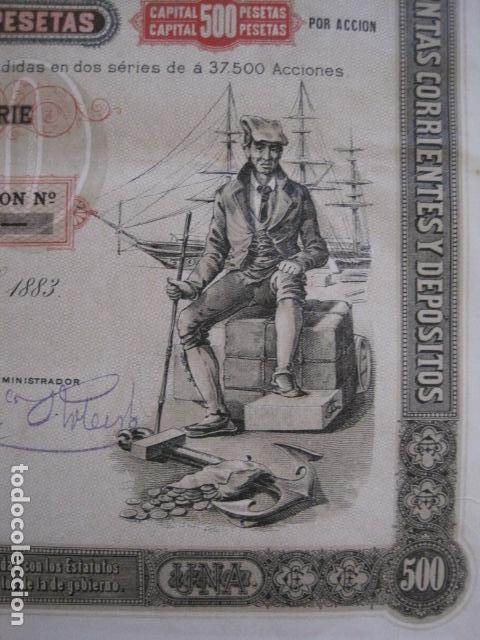 Coleccionismo Acciones Españolas: ACCION CREDITO ESPAÑOL- BARCELONA 1 DE ABRIL 1883 - 500 PESETAS - VER FOTOS -(ACCION 1) - Foto 6 - 112447339