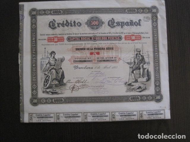 Coleccionismo Acciones Españolas: ACCION CREDITO ESPAÑOL- BARCELONA 1 DE ABRIL 1883 - 500 PESETAS - VER FOTOS -(ACCION 1) - Foto 10 - 112447339