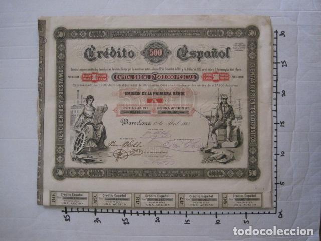 Coleccionismo Acciones Españolas: ACCION CREDITO ESPAÑOL- BARCELONA 1 DE ABRIL 1883 - 500 PESETAS - VER FOTOS -(ACCION 1) - Foto 11 - 112447339