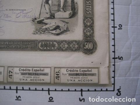Coleccionismo Acciones Españolas: ACCION CREDITO ESPAÑOL- BARCELONA 1 DE ABRIL 1883 - 500 PESETAS - VER FOTOS -(ACCION 1) - Foto 12 - 112447339