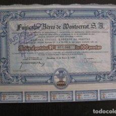 Coleccionismo Acciones Españolas: ACCION FERROCARRIL AEREO MONTSERRAT - IMPRENTA OLIVA VILANOVA - BARCELONA 1929-VER FOTOS -(ACCION 3). Lote 112448411