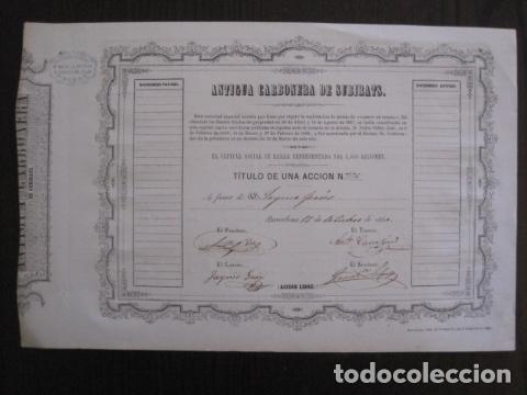 ACCION ANTIGUA CARBONERA DE SUBIRATS -MINAS - BARCELONA 1860 -VER FOTOS -(ACCION 6 ) (Coleccionismo - Acciones Españolas)