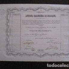 Coleccionismo Acciones Españolas: ACCION ANTIGUA CARBONERA DE SUBIRATS -MINAS - BARCELONA 1860 -VER FOTOS -(ACCION 6 ). Lote 112449503