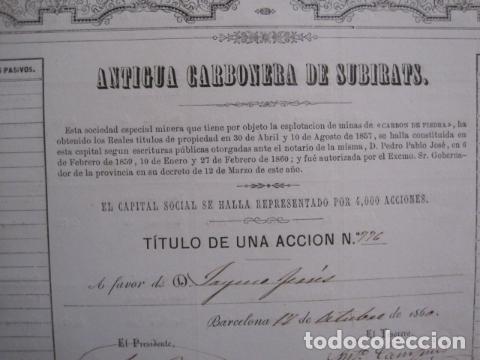 Coleccionismo Acciones Españolas: ACCION ANTIGUA CARBONERA DE SUBIRATS -MINAS - BARCELONA 1860 -VER FOTOS -(ACCION 6 ) - Foto 2 - 112449503