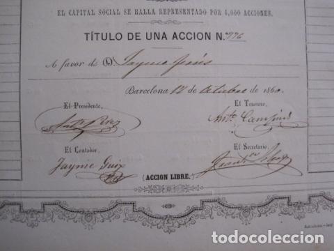 Coleccionismo Acciones Españolas: ACCION ANTIGUA CARBONERA DE SUBIRATS -MINAS - BARCELONA 1860 -VER FOTOS -(ACCION 6 ) - Foto 3 - 112449503