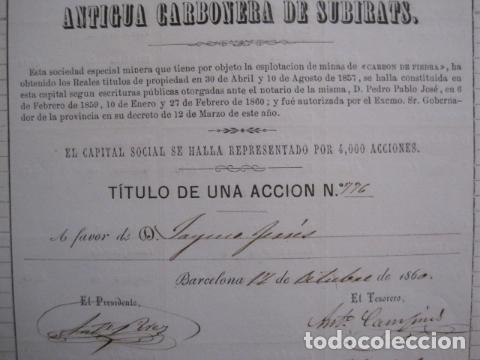 Coleccionismo Acciones Españolas: ACCION ANTIGUA CARBONERA DE SUBIRATS -MINAS - BARCELONA 1860 -VER FOTOS -(ACCION 6 ) - Foto 7 - 112449503