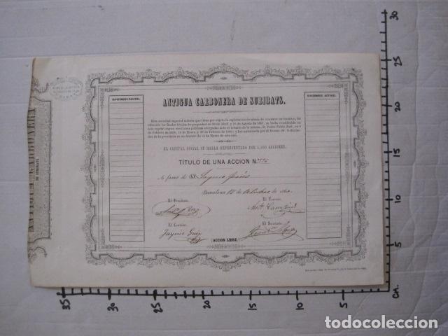 Coleccionismo Acciones Españolas: ACCION ANTIGUA CARBONERA DE SUBIRATS -MINAS - BARCELONA 1860 -VER FOTOS -(ACCION 6 ) - Foto 9 - 112449503
