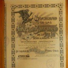 Coleccionismo Acciones Españolas: ANTIGUA ACCIÓN - MINAS DEL BARRANCO DE LA RAJA - SIERRA ALMAGRERA - ALMERÍA - 1909 - C/ CUPONES -. Lote 112838951