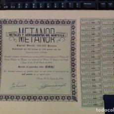 Coleccionismo Acciones Españolas: ACCIÓN DE METANOR (VITORIA). Lote 114267115