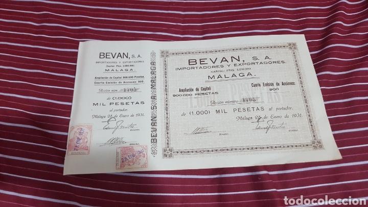 ACCIÓN BEVAN S.A. MALAGA 1931 ACEITES PASAS FRUTOS SECOS (Coleccionismo - Acciones Españolas)
