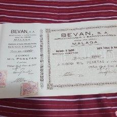 Coleccionismo Acciones Españolas: ACCIÓN BEVAN S.A. MALAGA 1931 ACEITES PASAS FRUTOS SECOS. Lote 115057882