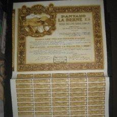 Coleccionismo Acciones Españolas: ACCION - OBLIGACION PANTANO LA BERNE S.A. EGEA DE LOS CABALLEROS. PAMPLONA 19 ABRIL 1929.. Lote 115065567