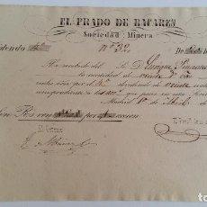 Coleccionismo Acciones Españolas: ANTIGUO DIVIDENDO. ACCION EL PRADO DE BACAREN SOCIEDAD MINERA. ABRIL 1858. Lote 115791299