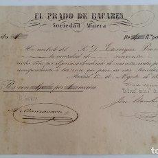 Coleccionismo Acciones Españolas: ANTIGUO DIVIDENDO. ACCION EL PRADO DE BACAREN SOCIEDAD MINERA. AGOSTO 1857. Lote 115792291