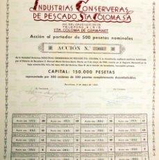 Coleccionismo Acciones Españolas: INDUSTRIAS CONSERVERAS PESCADO SANTA COLOMA SA-BARCELONA 1945-ACCION NUMERADA 500 PESETAS+CUPONES. Lote 118035904