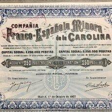Coleccionismo Acciones Españolas: COMPAÑÍA FRANCO-ESPAÑOLA MINERA DE LA CAROLINA, 1907. Lote 116704679