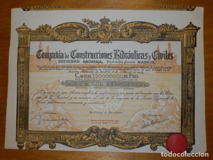 ANTIGUA ACCIÓN - COMPAÑIA DE CONSTRUCCIONES HIDRAULICAS Y CIVILES.- AÑO 1934 - (Coleccionismo - Acciones Españolas)