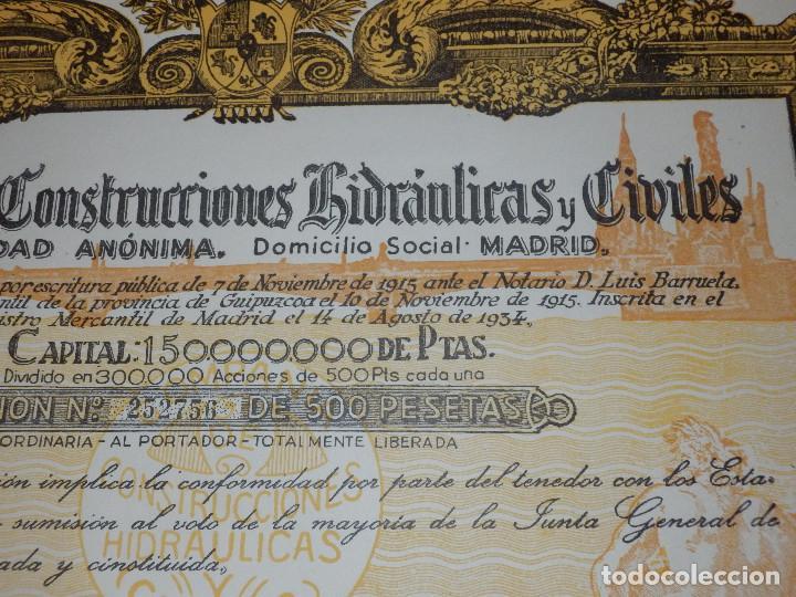 Coleccionismo Acciones Españolas: Antigua acción - Compañia de Construcciones Hidraulicas y Civiles.- Año 1934 - - Foto 2 - 116809067