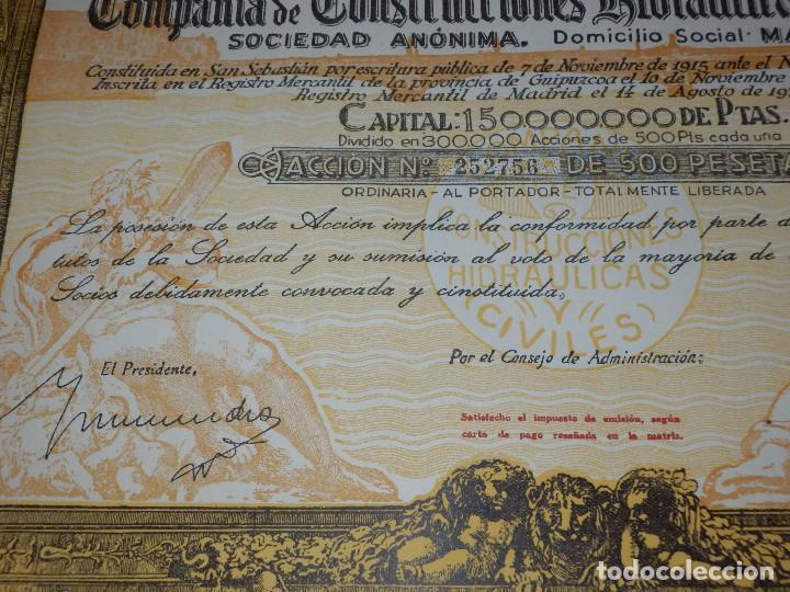 Coleccionismo Acciones Españolas: Antigua acción - Compañia de Construcciones Hidraulicas y Civiles.- Año 1934 - - Foto 3 - 116809067