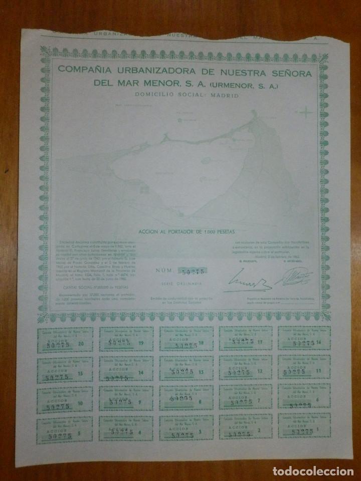 ACCION COMPAÑIA URBANIZADORA NUESTRA SEÑORA DEL MAR MENOR ( URMENOR, S.A.) 1965 (Coleccionismo - Acciones Españolas)