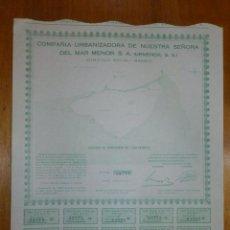 Coleccionismo Acciones Españolas: ACCION COMPAÑIA URBANIZADORA NUESTRA SEÑORA DEL MAR MENOR ( URMENOR, S.A.) 1965. Lote 116809715