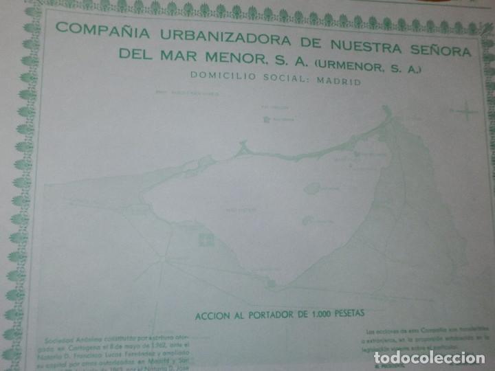 Coleccionismo Acciones Españolas: ACCION COMPAÑIA URBANIZADORA NUESTRA SEÑORA DEL MAR MENOR ( URMENOR, S.A.) 1965 - Foto 2 - 116809715