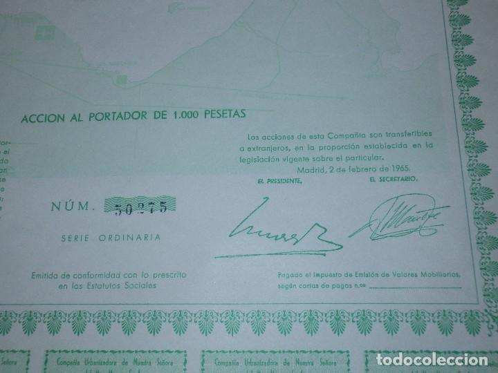 Coleccionismo Acciones Españolas: ACCION COMPAÑIA URBANIZADORA NUESTRA SEÑORA DEL MAR MENOR ( URMENOR, S.A.) 1965 - Foto 4 - 116809715