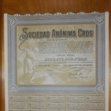 Coleccionismo Acciones Españolas: ANTIGUA ACCION SOCIEDAD ANÓNIMA CROS. - AGRÍCOLA - BARCELONA 1964 - MUY BONITA.. Lote 116809763