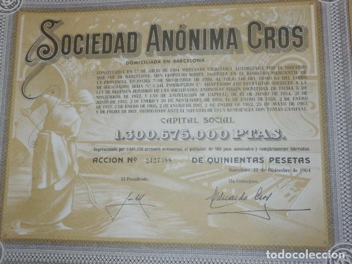 Coleccionismo Acciones Españolas: ANTIGUA ACCION SOCIEDAD ANÓNIMA CROS. - AGRÍCOLA - BARCELONA 1964 - MUY BONITA. - Foto 2 - 116809763