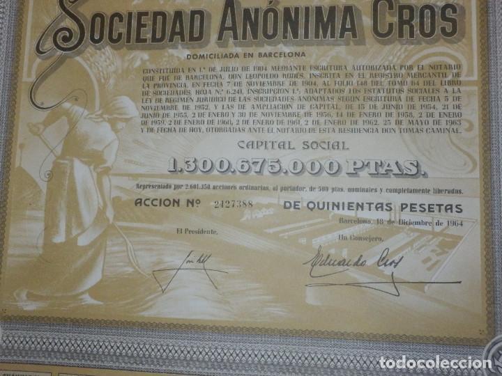 Coleccionismo Acciones Españolas: ANTIGUA ACCION SOCIEDAD ANÓNIMA CROS. - AGRÍCOLA - BARCELONA 1964 - MUY BONITA. - Foto 3 - 116809763
