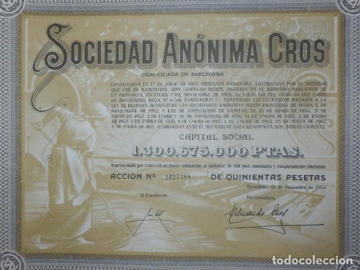 Coleccionismo Acciones Españolas: ANTIGUA ACCION SOCIEDAD ANÓNIMA CROS. - AGRÍCOLA - BARCELONA 1964 - MUY BONITA. - Foto 5 - 116809763