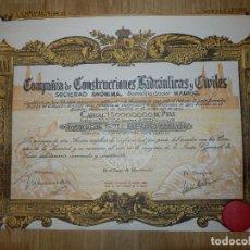 Coleccionismo Acciones Españolas: ANTIGUA ACCIÓN - COMPAÑIA DE CONSTRUCCIONES HIDRAULICAS Y CIVILES.- AÑO 1934 -. Lote 116810531