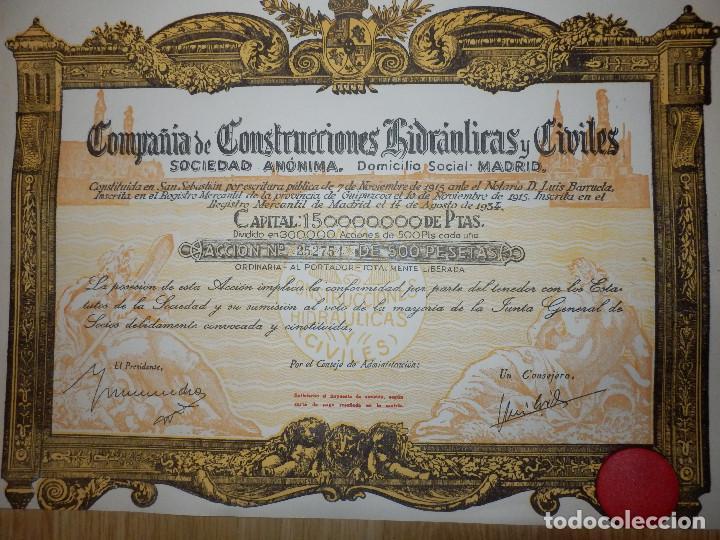 Coleccionismo Acciones Españolas: ANTIGUA ACCIÓN - COMPAÑIA DE CONSTRUCCIONES HIDRAULICAS Y CIVILES.- AÑO 1934 - - Foto 2 - 116810531