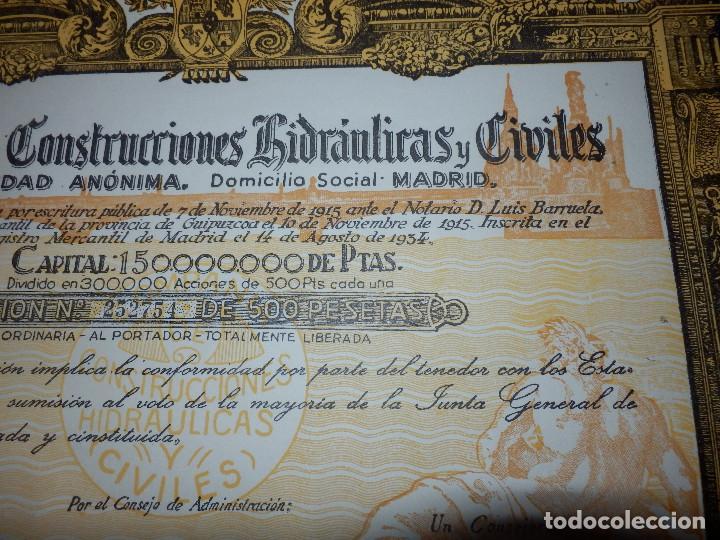 Coleccionismo Acciones Españolas: ANTIGUA ACCIÓN - COMPAÑIA DE CONSTRUCCIONES HIDRAULICAS Y CIVILES.- AÑO 1934 - - Foto 3 - 116810531