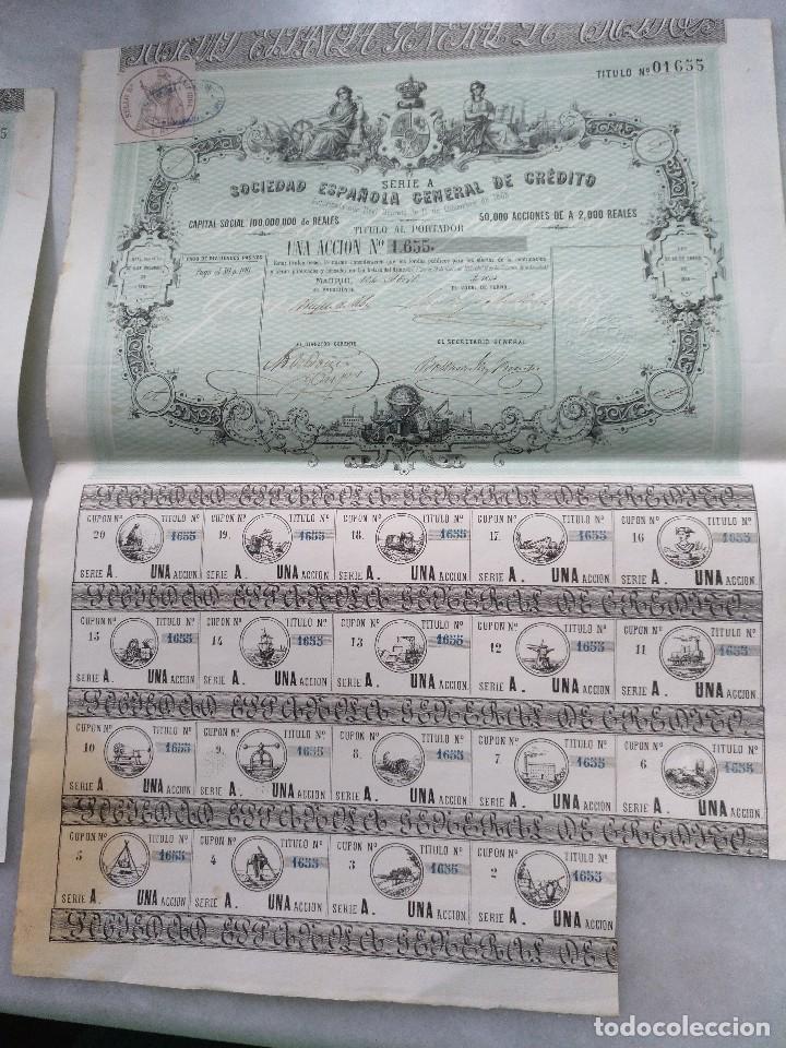 SOCIEDAD ESPAÑOLA GENERAL DE CRÉDITO.SERIE A. MADRID 1864, (Coleccionismo - Acciones Españolas)
