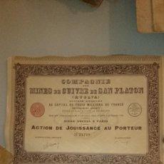 Coleccionismo Acciones Españolas: 1906 - ACCION - COMPAÑIA DE MINAS DE COBRE DE SAN PLATON - ALMONASTER LA REAL HUELVA. Lote 117822819